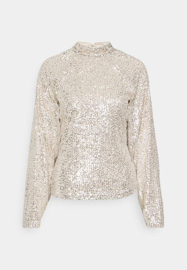 SEQUIN BALLOON SLEEVE - Bluzka z długim rękawem - silver