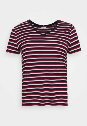 RELAXED V NECK - Basic T-shirt - ombre/red/white/blue