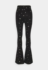 Colourful Rebel - STAR EYE PRINT BASIC FLARE PANTS - Trousers - black - 5