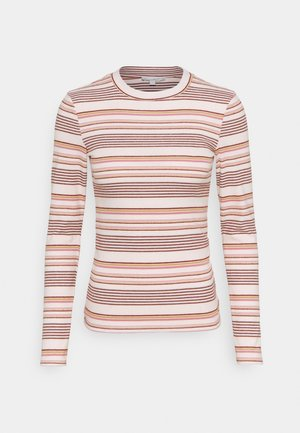 STRIPED COSY LONGLSEEVE - Long sleeved top - creme/rose/beige