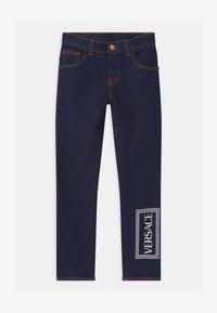 Versace - PANTALONE LUNGO - Džíny Slim Fit - blu scuro/bianco - 0