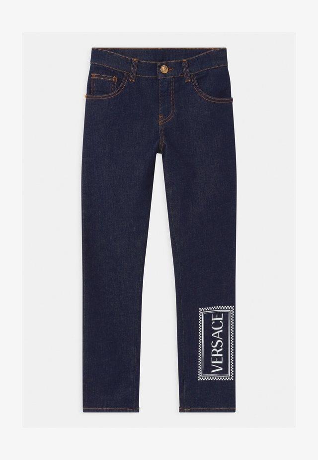 PANTALONE LUNGO - Slim fit jeans - blu scuro/bianco