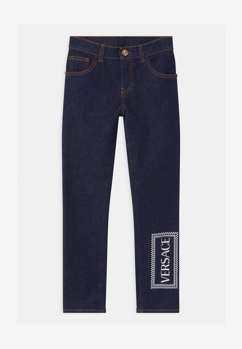 Versace - PANTALONE LUNGO - Džíny Slim Fit - blu scuro/bianco