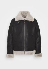 Schott - Leather jacket - black/offwhite - 4