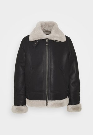 Leather jacket - black/offwhite