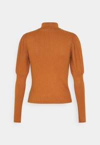 New Look - CARLEY RIB PUFF MUTTON SLEEVE STAND NECK - Long sleeved top - rust - 1