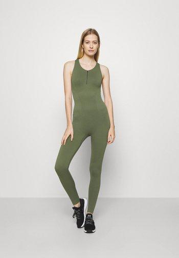 ZIP UP LONG BODYSUIT - Gym suit - green