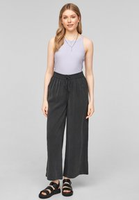 QS by s.Oliver - LOOSE FIT - Trousers - black - 1
