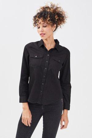 Button-down blouse - denim noir