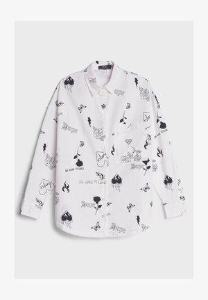 MIT TATTOO-PRINT - Button-down blouse - white