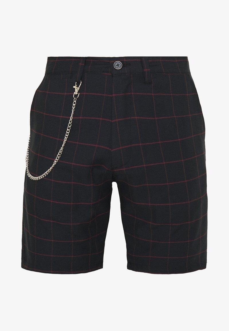 Brave Soul - CHESTER - Shorts - black/burg check