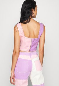 Jaded London - PATCHWORK SQUARE NECK CORSET WITH FRAYED SEAMS - Top - multi coloured - 2