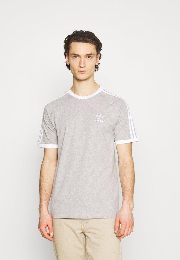 adidas Originals STRIPES TEE - T-shirt z nadrukiem - medium grey heather/szary melanż Odzież Męska PBUR