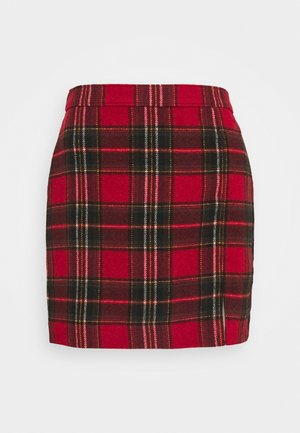 CHAIN PLAID MINI STATEMEN - Mini skirt - red
