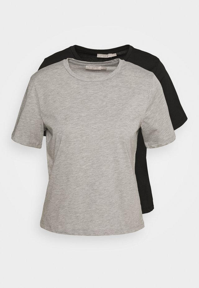 CROP TALL 2 PACK  - T-shirts basic - black