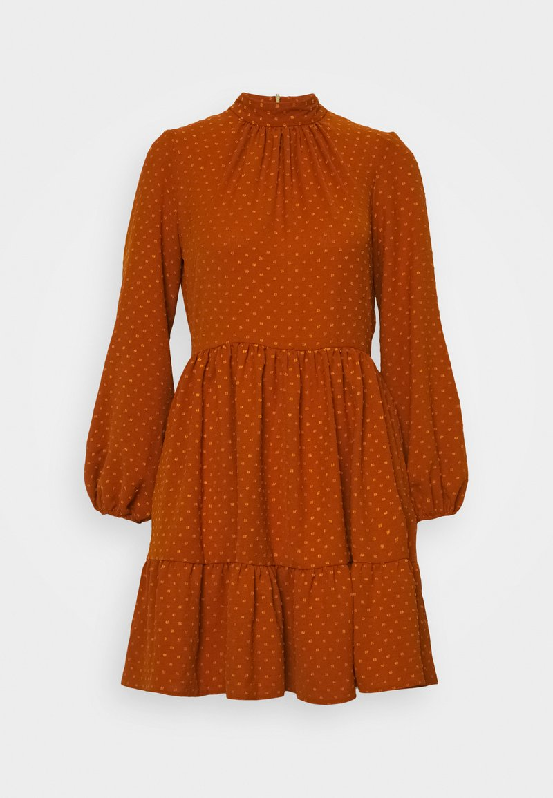 Closet - CLOSET HIGH COLLAR MINI DRESS - Day dress - tan