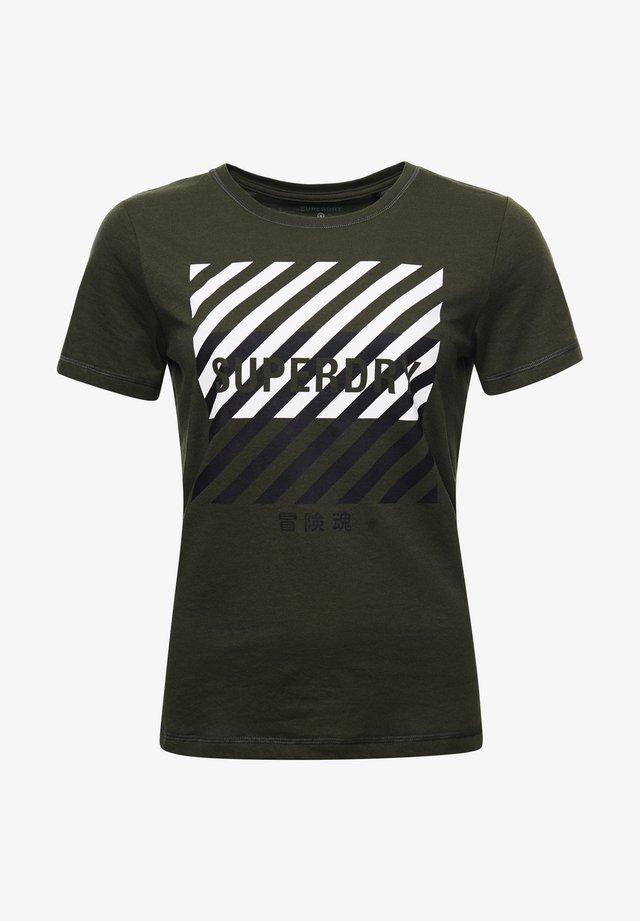 Print T-shirt - army khaki