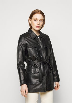 AMELIE BELTED JACKET - Leather jacket - black