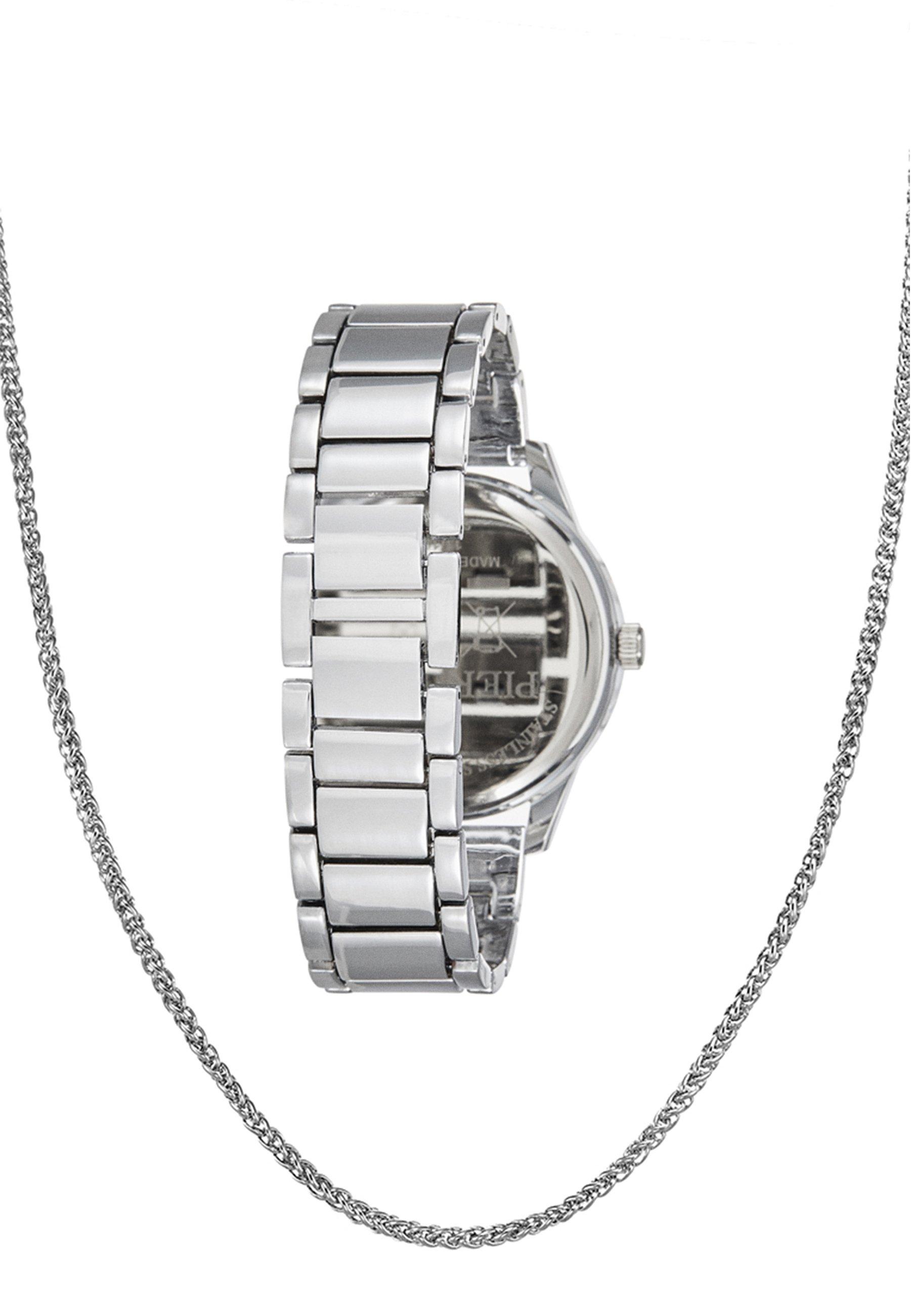 Pier One SET - Klokke - silver-coloured/sølv tXzQlc6nQFqIxEn