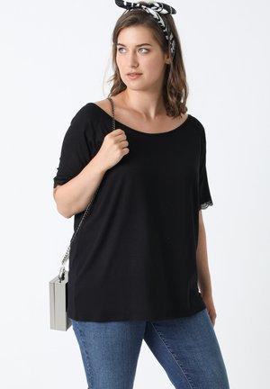 DENTELLE LARGE ENCOLURE - T-shirt basic - noir