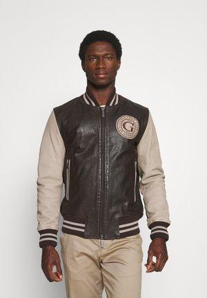 VARSITY - Leather jacket - pasedena/brown