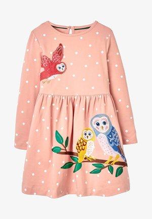 Day dress - rosa und naturweiß, punkte/eulen