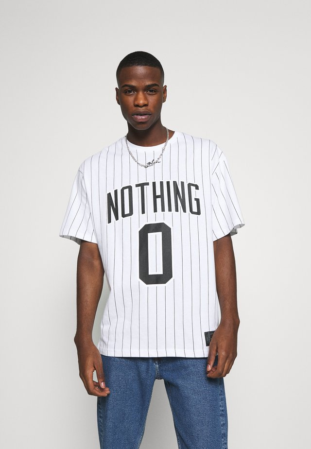 OVERSIZED NOTHING PINSTRIPE  - T-shirt print - white
