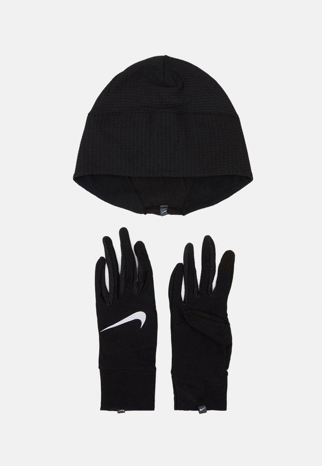 WOMENS ESSENTIAL RUNNING HAT AND GLOVE SET - Mössa - black/silver
