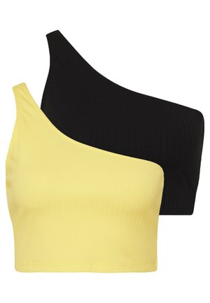2 PACK ONE SHOULDER CROP - Linne - black/lemon