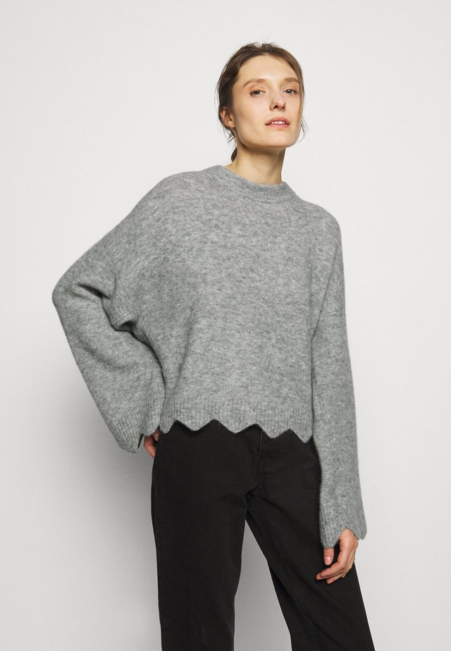 CREW NECK WITH SCALLOPS - Jumper - grey melange