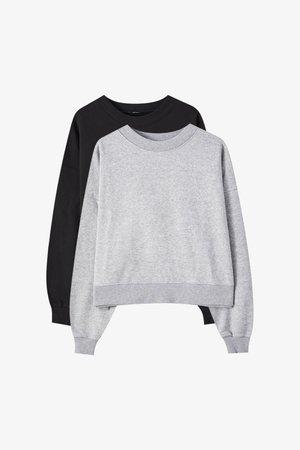 2 PACK - Collegepaita - black/grey