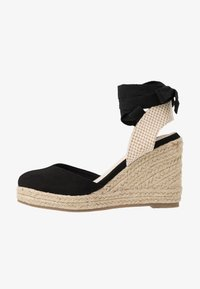 Lost Ink - ANKLE WRAP WEDGE  - High heeled sandals - black - 1