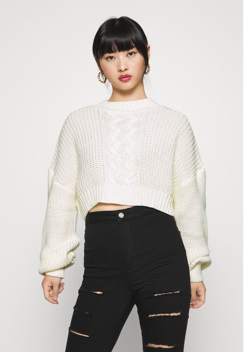 Missguided Petite - CROPPED - Jumper - off white