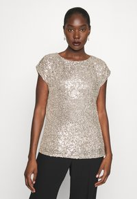 Dorothy Perkins - SEQUIN TEE - T-shirt imprimé - champagne - 0