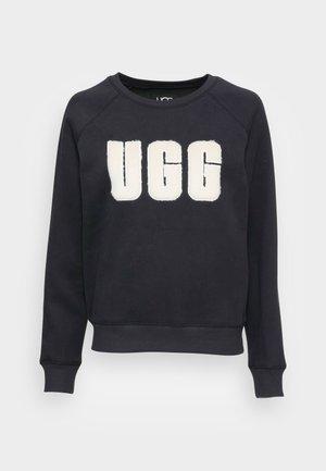 MADELINE FUZZY LOGO CREWNECK - Sweatshirt - black / cream