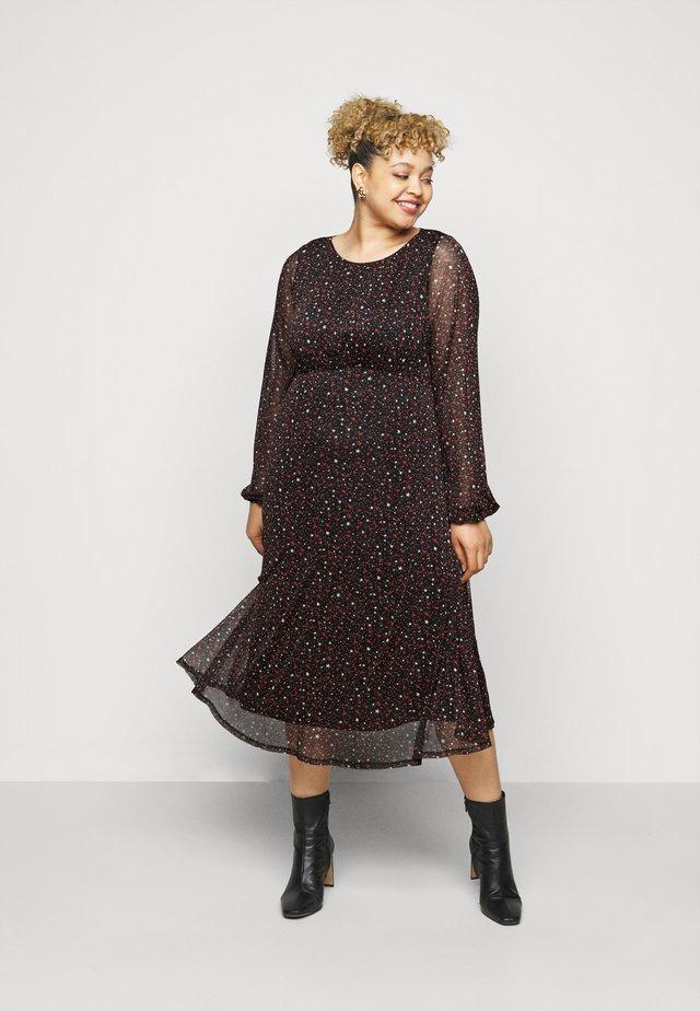 PRINTED HANKY HEM DRESS - Vapaa-ajan mekko - black
