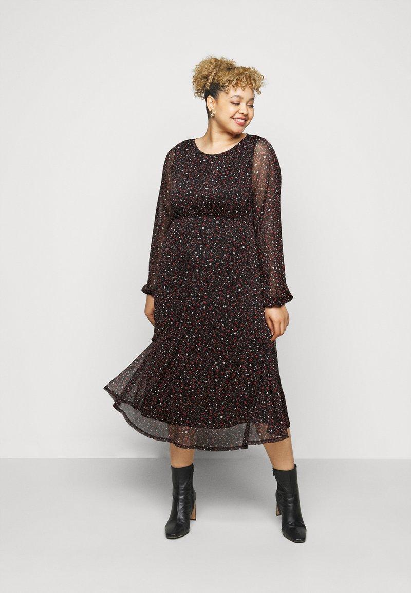 Evans - PRINTED HANKY HEM DRESS - Day dress - black