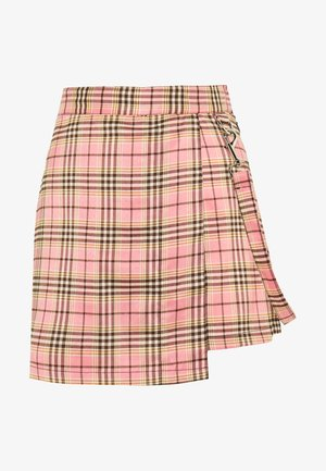 CHECK WRAP OVER SKORT WITH STRAP - Shorts - pink
