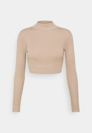 HIGH NECK CROP - Jumper - sand