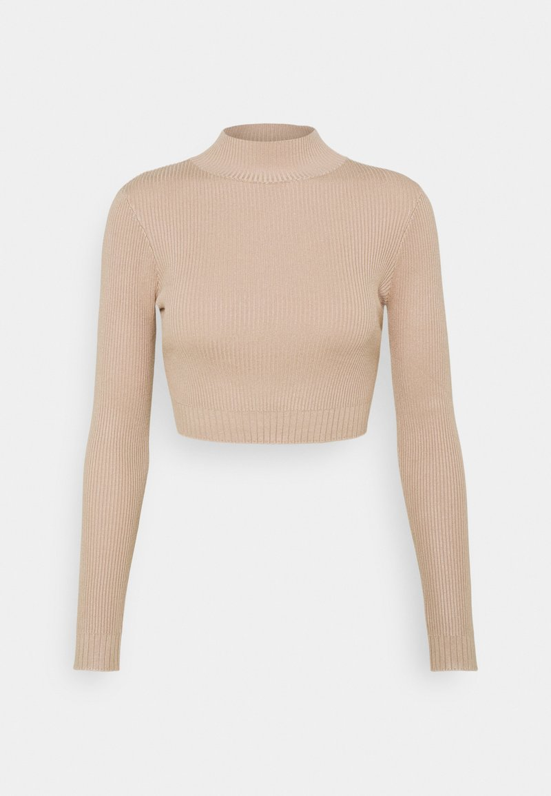 Missguided Petite - HIGH NECK CROP - Jumper - sand
