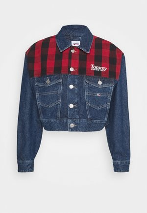 CROP  - Denim jacket - plaid mix mid blue rigid