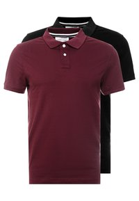Pier One - 2 PACK - Poloshirt - bordeaux/black - 0