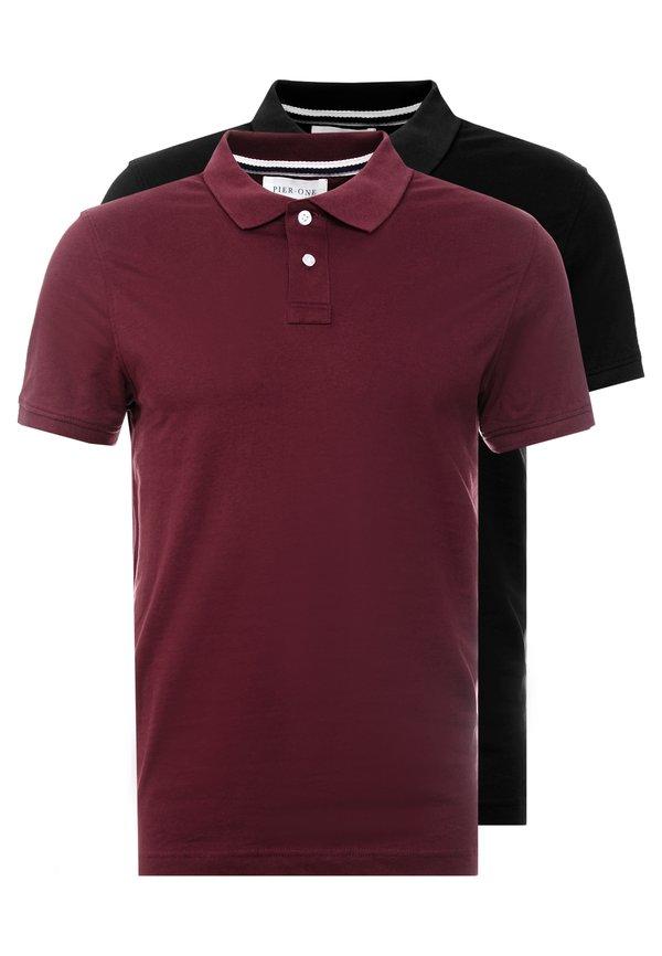 Pier One 2 PACK - Koszulka polo - bordeaux/black/bordowy Odzież Męska FSDQ