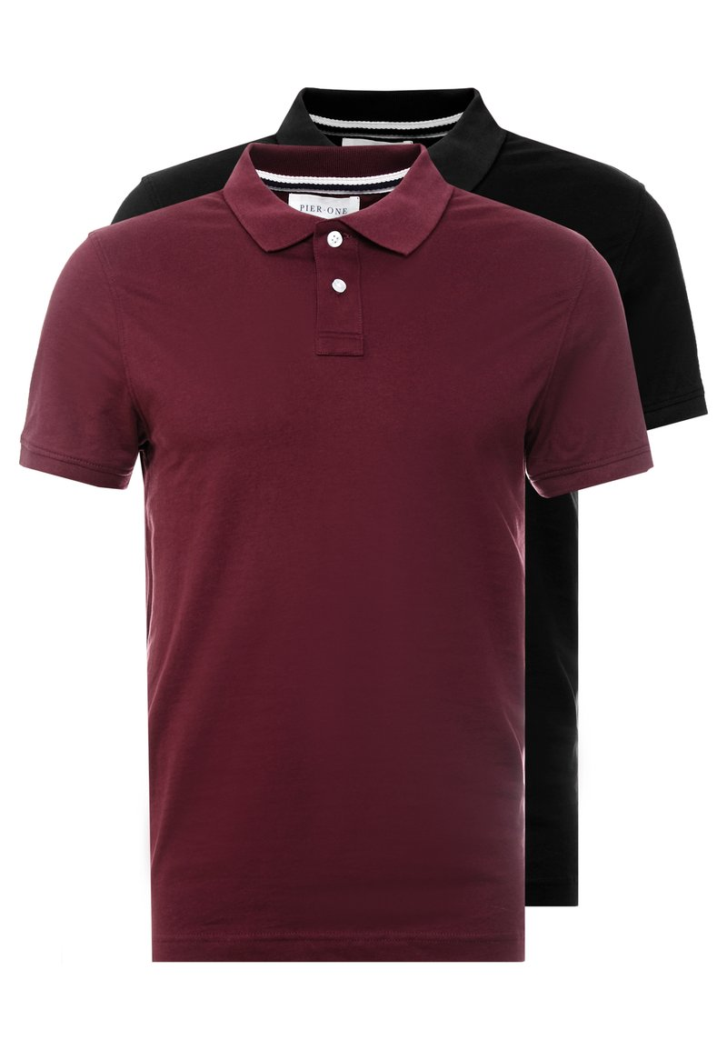Pier One - 2 PACK - Poloshirt - bordeaux/black
