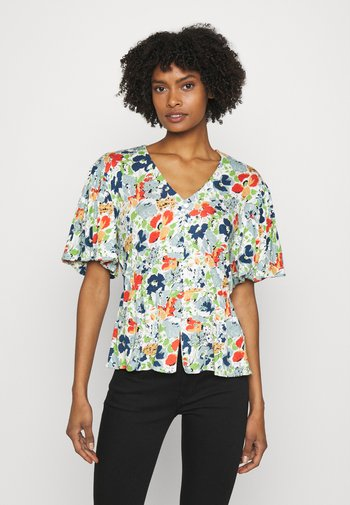 Print T-shirt - cream multi