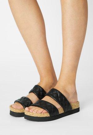 VEGAN - Pantolette flach - black