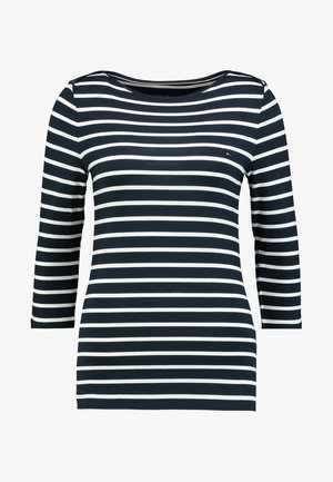 HERITAGE BOAT NECK TEE 3/4 - Long sleeved top - midnight/classic white