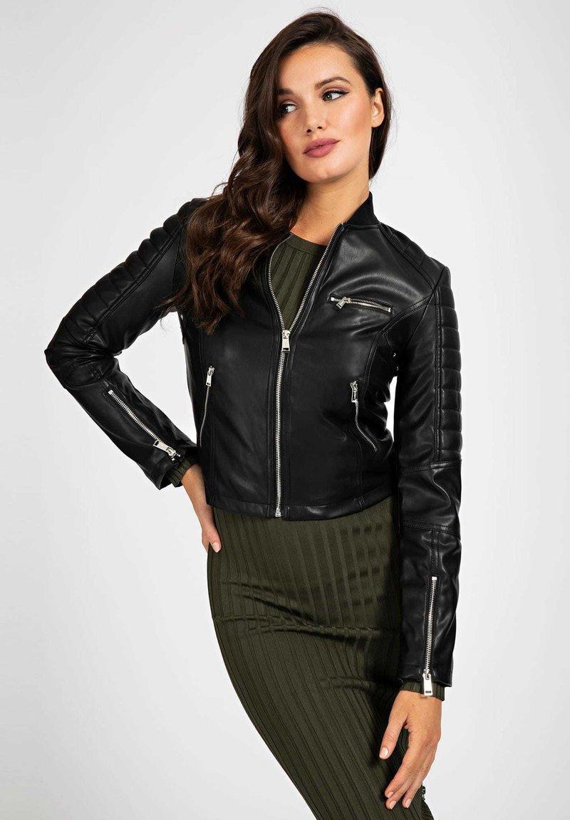 Guess - RIPP-KRAGEN - Faux leather jacket - schwarz