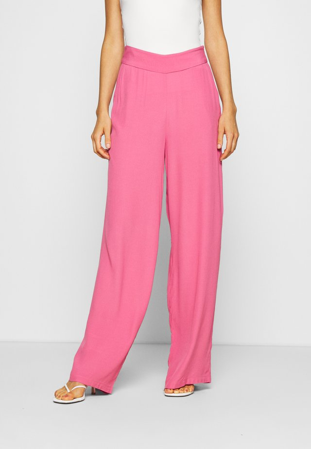 WIDE FLOWY PANTS - Tygbyxor - pink