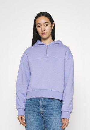 ELASTICATED HEM HALF ZIP HOODIE - Sweatshirt - lavender